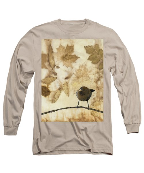 Little Bird On Silk With Leaves Long Sleeve T-Shirt by Carolyn Doe