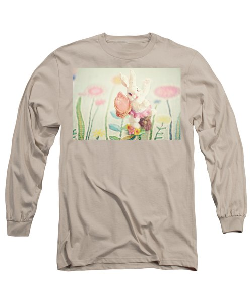 Little Bunny In The Garden Long Sleeve T-Shirt by Toni Hopper