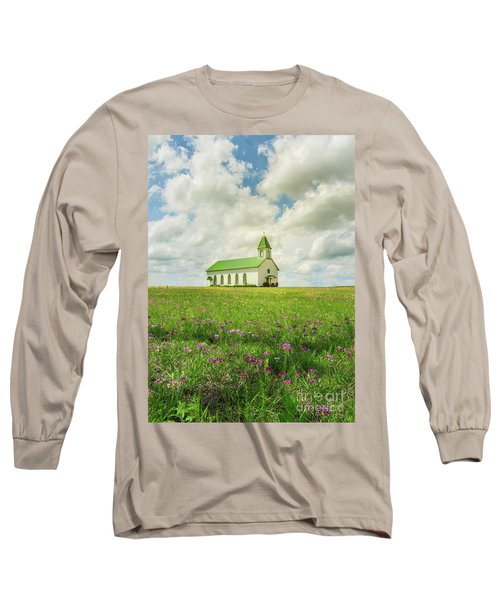 Little Church On Hill Of Wildflowers Long Sleeve T-Shirt by Robert Frederick