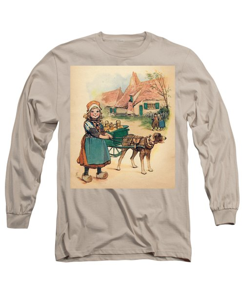 Little Dutch Girl With Milk Wagon Long Sleeve T-Shirt by Reynold Jay