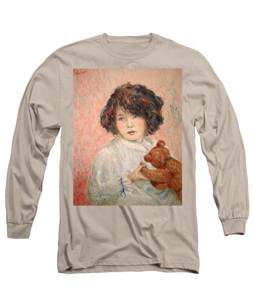 Little Girl With Bear Long Sleeve T-Shirt by Pierre Van Dijk