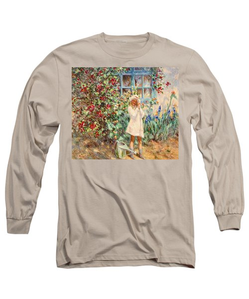 Little Girl With Roses  Long Sleeve T-Shirt