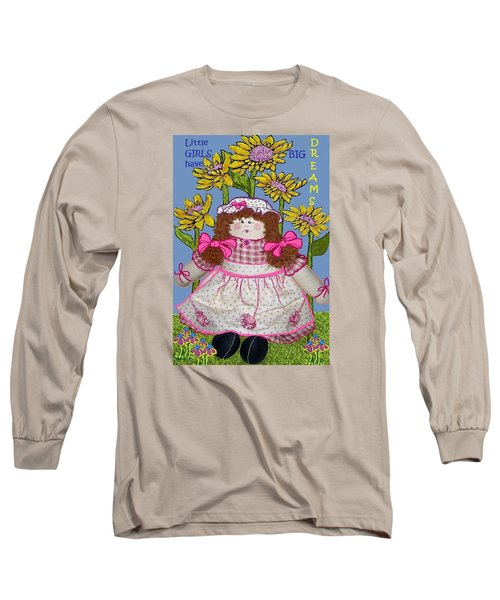 Long Sleeve T-Shirt featuring the mixed media Little Girls Have Big Dreams by Suzanne Theis