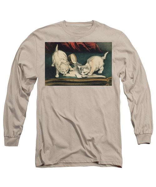 Long Sleeve T-Shirt featuring the painting Little White Kitties Into Mischief                                                      by Matthias Hauser