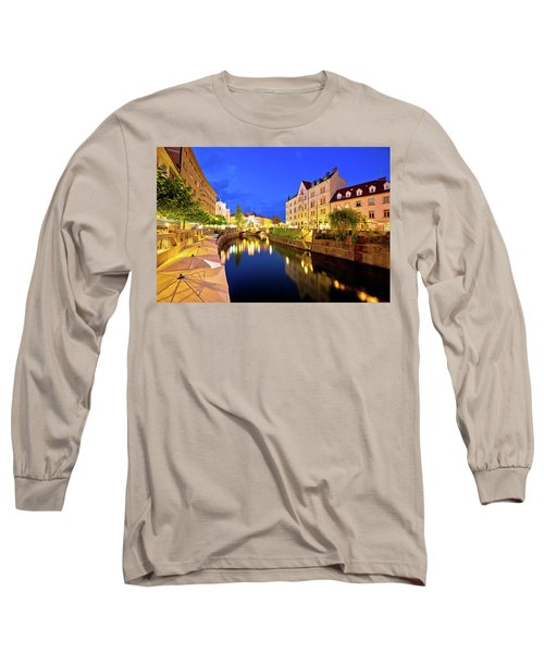 Ljubljanica River Waterfront In Ljubljana Evening View Long Sleeve T-Shirt