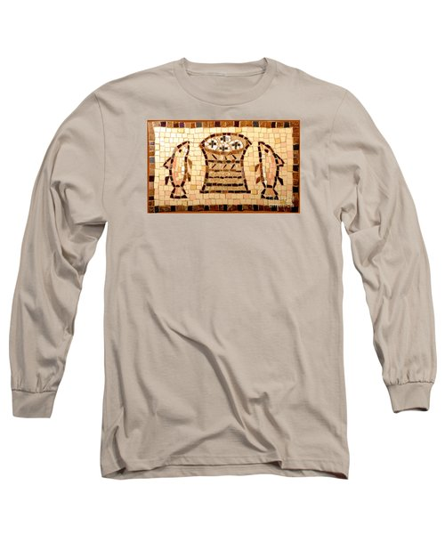 Loaves And Fishes Mosaic Long Sleeve T-Shirt by Lou Ann Bagnall