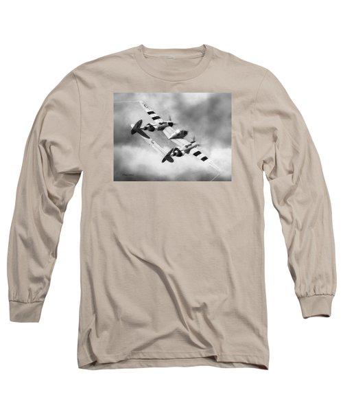Lockheed P-38l Lightning Drawing Long Sleeve T-Shirt by Douglas Castleman