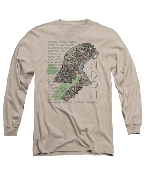 London Classic Map Long Sleeve T-Shirt by Jasone Ayerbe- Javier R Recco