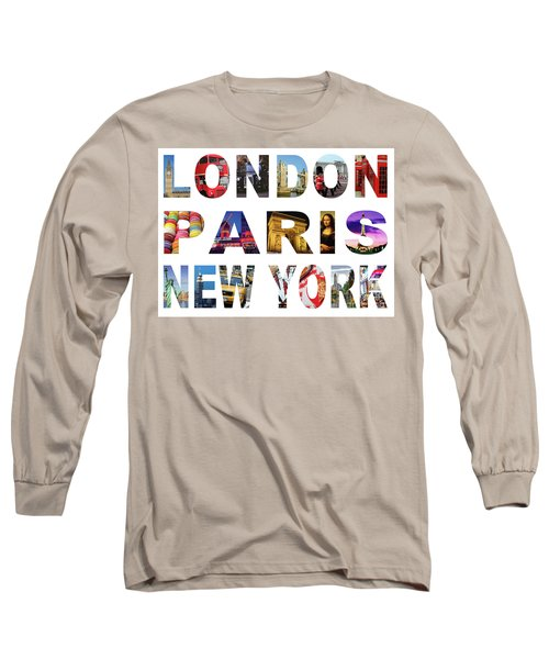Long Sleeve T-Shirt featuring the digital art London Paris New York, White Background by Adam Spencer
