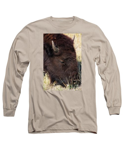 Lonely Bison Long Sleeve T-Shirt by Janie Johnson