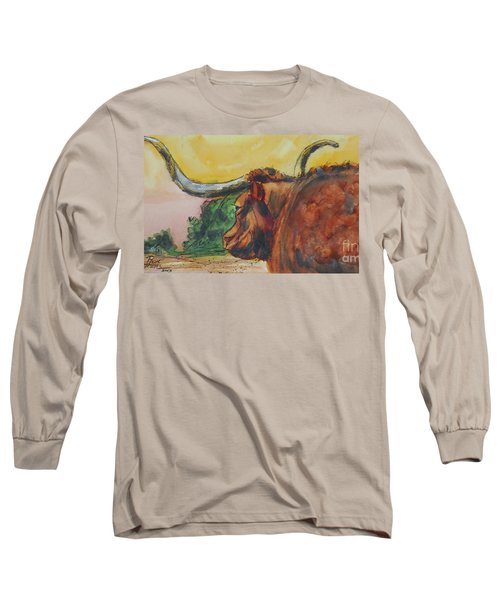 Long Sleeve T-Shirt featuring the painting Lonesome Longhorn by Ron Stephens