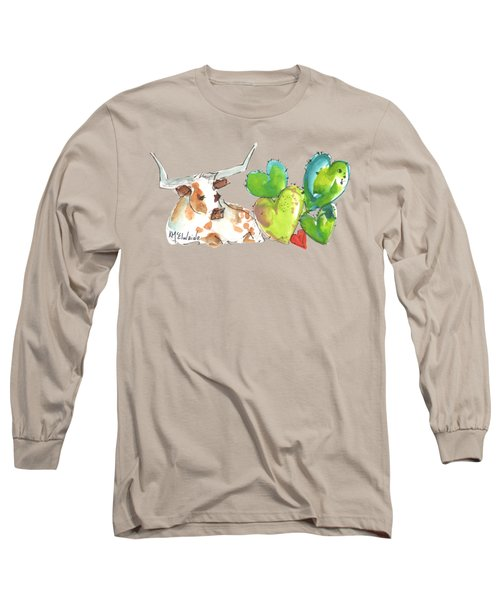 Longhorn And Valentine Cactus Long Sleeve T-Shirt