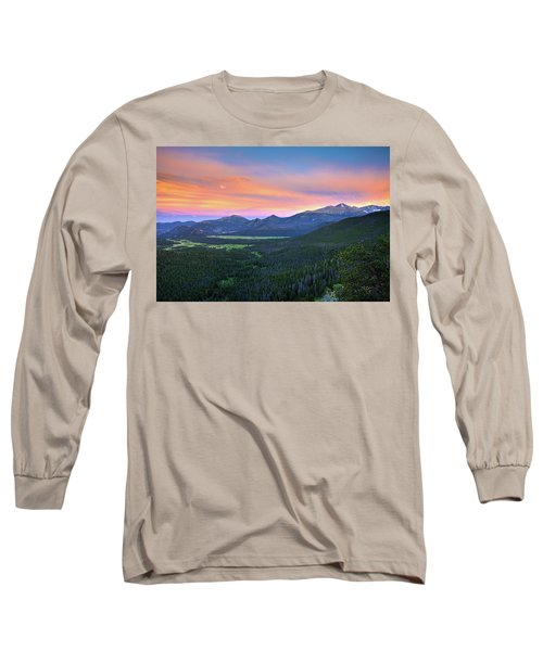 Longs Peak Sunset Long Sleeve T-Shirt by David Chandler
