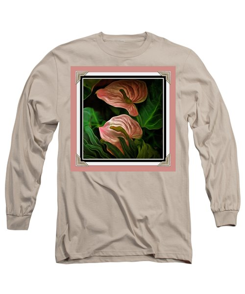 Long Sleeve T-Shirt featuring the mixed media Longwood Lilies by Trish Tritz