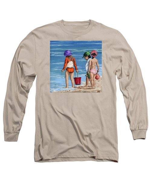 Looking For Seashells Children On The Beach Figurative Original Painting Long Sleeve T-Shirt