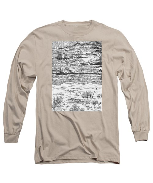 Looming Snowstorm Long Sleeve T-Shirt by Charles Cater