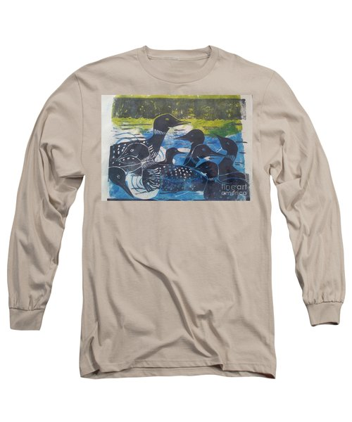 Long Sleeve T-Shirt featuring the mixed media Loon, I See by Cynthia Lagoudakis