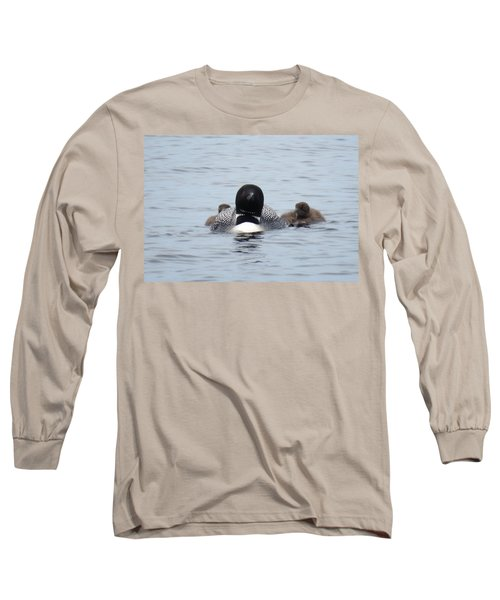 Loon With Chicks Long Sleeve T-Shirt by Sandra LaFaut