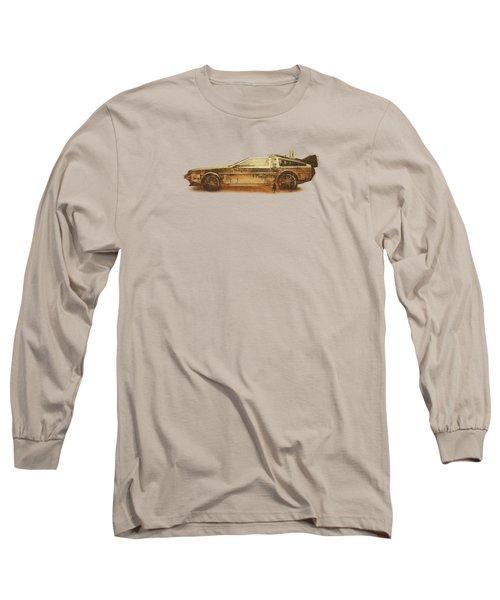 Lost In The Wild Wild West Golden Delorean Doubleexposure Art Long Sleeve T-Shirt by Philipp Rietz