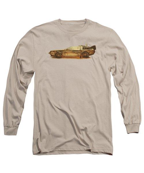 Lost In The Wild Wild West Golden Delorean Doubleexposure Art Long Sleeve T-Shirt