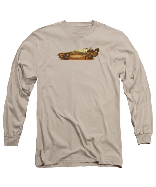 Lost In The Wild Wild West Golden Delorean Doubleexposure Art Long Sleeve T-Shirt