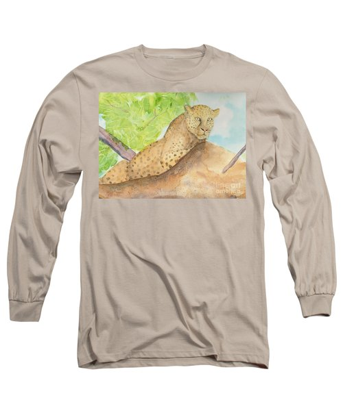 Long Sleeve T-Shirt featuring the painting Lounging Leopard by Vicki  Housel