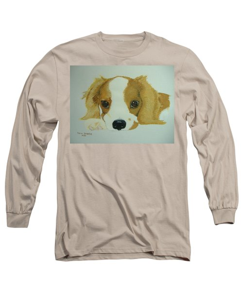 Long Sleeve T-Shirt featuring the painting Lovable Puppy by Norm Starks