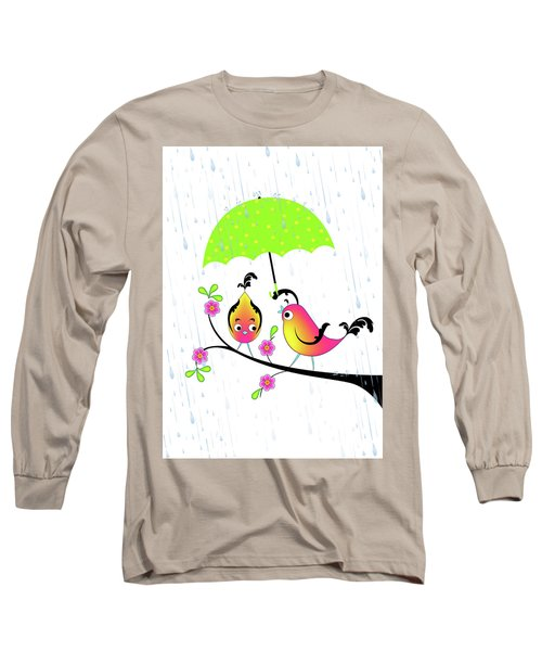 Love Birds In Rain Long Sleeve T-Shirt