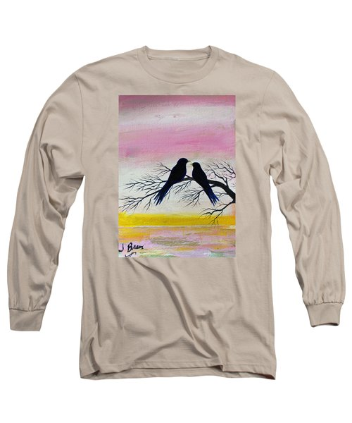 Long Sleeve T-Shirt featuring the painting Love Birds by Jack G  Brauer