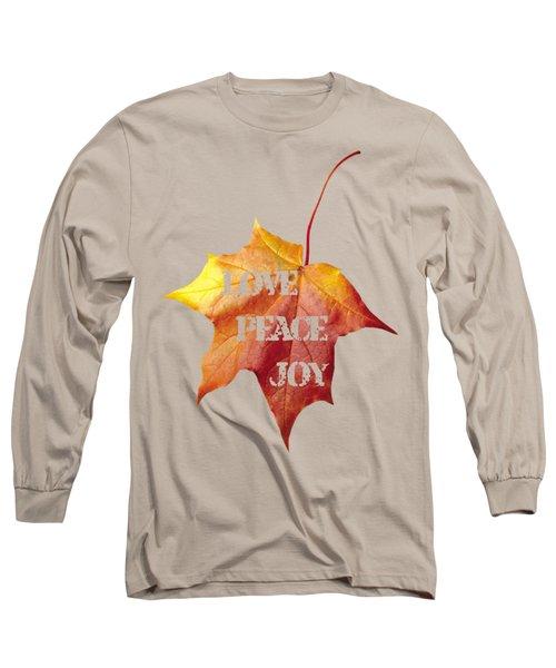 Love Peace Joy Carved On Fall Leaf Long Sleeve T-Shirt