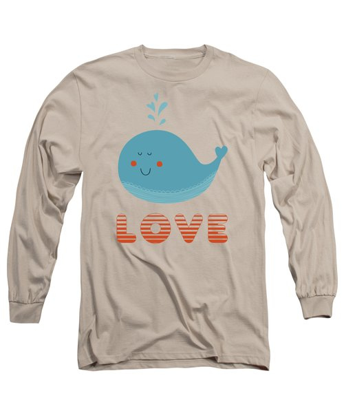 Love Whale Cute Animals Long Sleeve T-Shirt by Edward Fielding