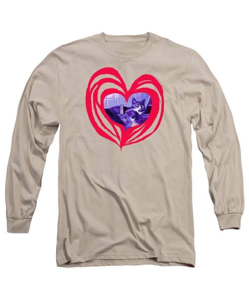 Loveheart Kitty Long Sleeve T-Shirt by Mary Armstrong