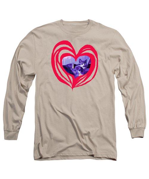 Loveheart Kitty Long Sleeve T-Shirt
