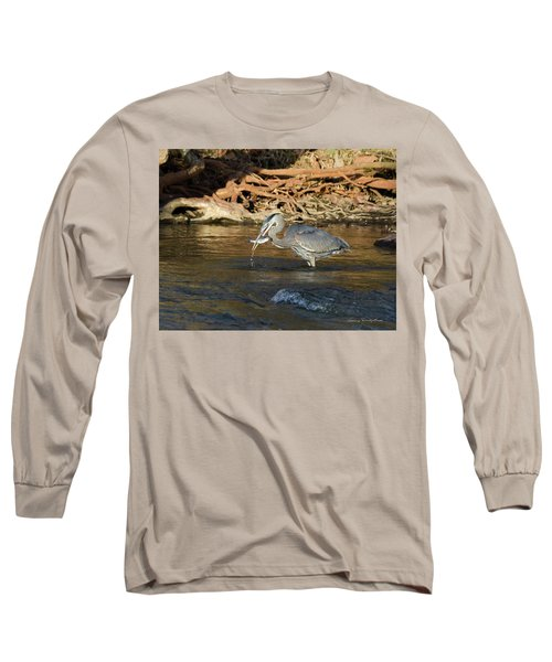 Lunch On The Neuse River Long Sleeve T-Shirt by George Randy Bass