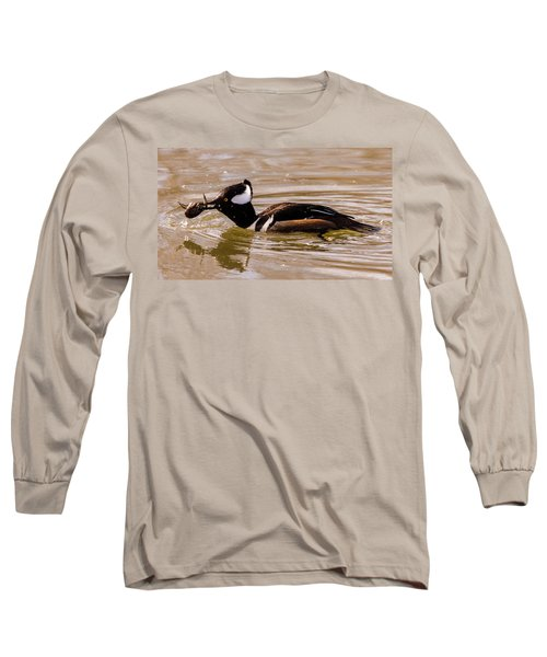 Lunchtime For The Hooded Merganser Long Sleeve T-Shirt by Randy Scherkenbach
