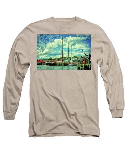 Lunenburg Harbor Long Sleeve T-Shirt by Rodney Campbell