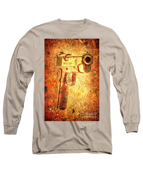 M1911 Muzzle On Rusted Background 3/4 View Long Sleeve T-Shirt by M L C