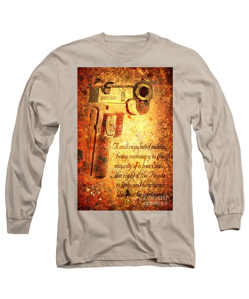 M1911 Pistol And Second Amendment On Rusted Overlay Long Sleeve T-Shirt by M L C
