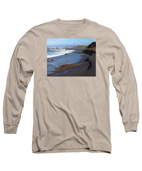 Mackerricher Beach Coastline Long Sleeve T-Shirt by Amelia Racca