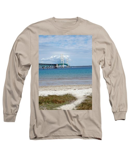 Long Sleeve T-Shirt featuring the photograph Mackinac Bridge Path To Lake by LeeAnn McLaneGoetz McLaneGoetzStudioLLCcom