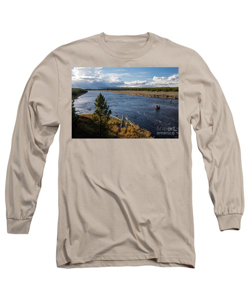 Madison River In Yellowstone National Park Long Sleeve T-Shirt by Cindy Murphy - NightVisions