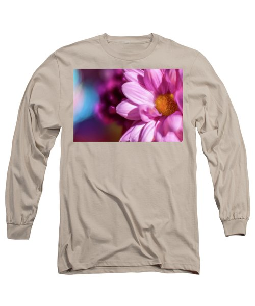Magenta Floral On Blue Long Sleeve T-Shirt