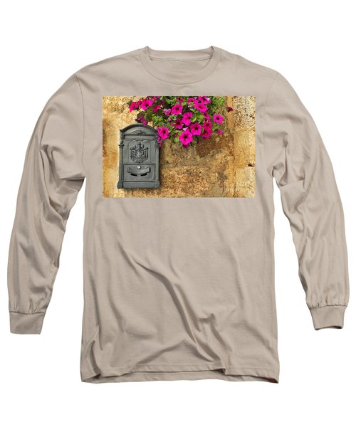 Mailbox With Petunias Long Sleeve T-Shirt