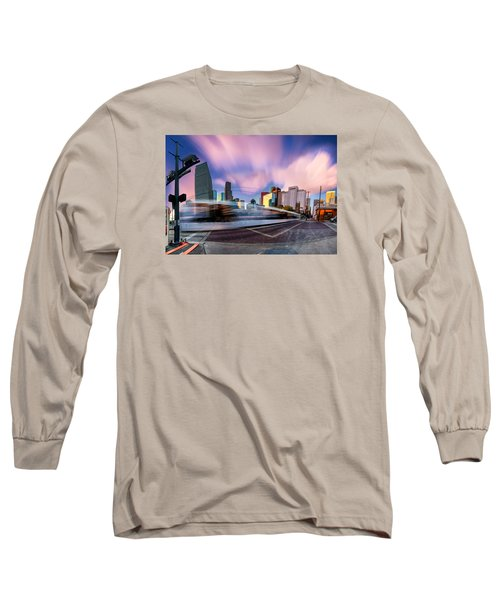 Main And Bell St Downtown Houston Texas Long Sleeve T-Shirt by Micah Goff