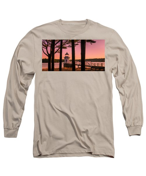 Maine Doubling Point Lighthouse At Sunset Panorama Long Sleeve T-Shirt