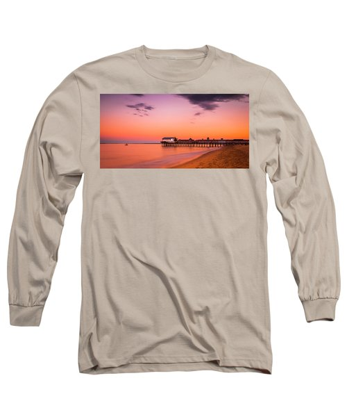 Maine Old Orchard Beach Pier At Sunset Long Sleeve T-Shirt