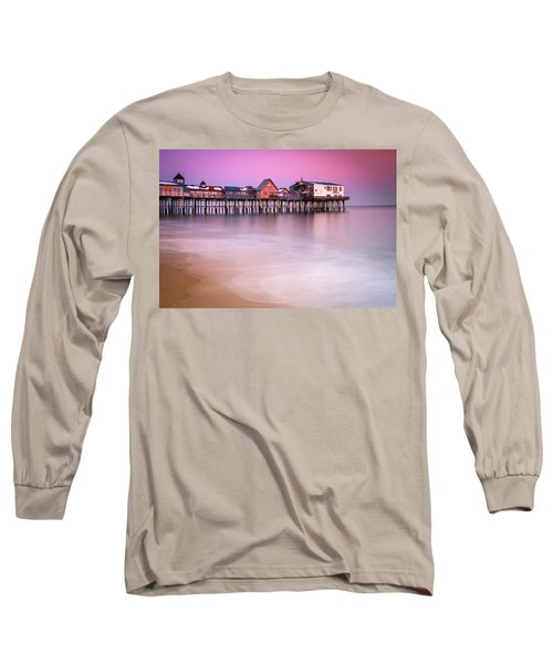 Long Sleeve T-Shirt featuring the photograph Maine Old Orchard Beach Pier Sunset  by Ranjay Mitra