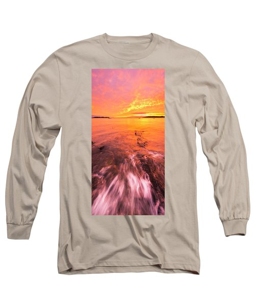Maine Rocky Coastal Sunset At Kettle Cove Long Sleeve T-Shirt by Ranjay Mitra