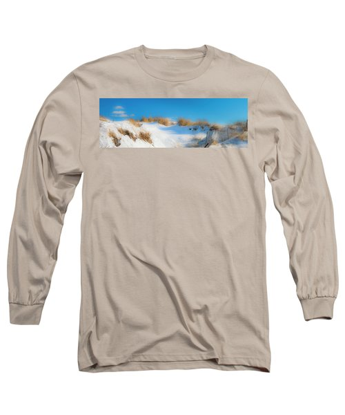 Maine Snow Dunes On Coast In Winter Panorama Long Sleeve T-Shirt by Ranjay Mitra