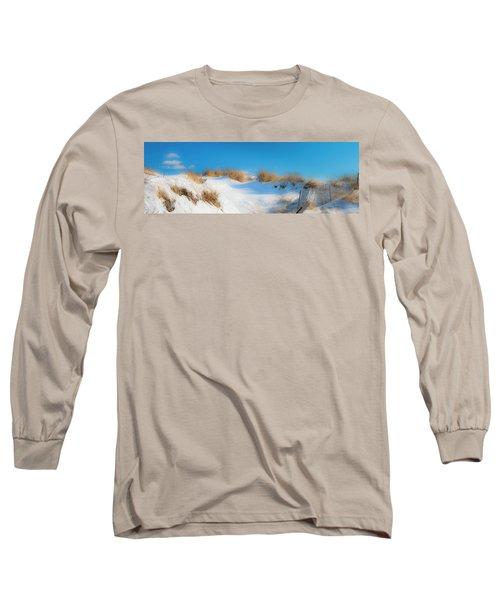 Maine Snow Dunes On Coast In Winter Panorama Long Sleeve T-Shirt